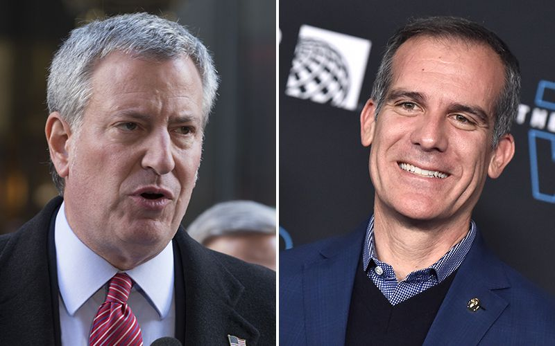 NYC Mayor Bill de Blasio, Los Angeles Mayor Eric Garcetti